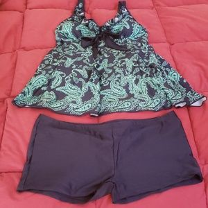 Other - Bathing suit top (navy blue & green) & boy shorts